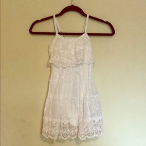 Justice Sz5 White w/ Silver Pinstripes sundress